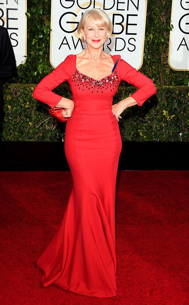 Helen Mirren from 2015 Golden Globes Red Carpet Arrivals | E! Online