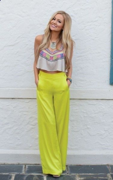 high waisted pants with a crop top
