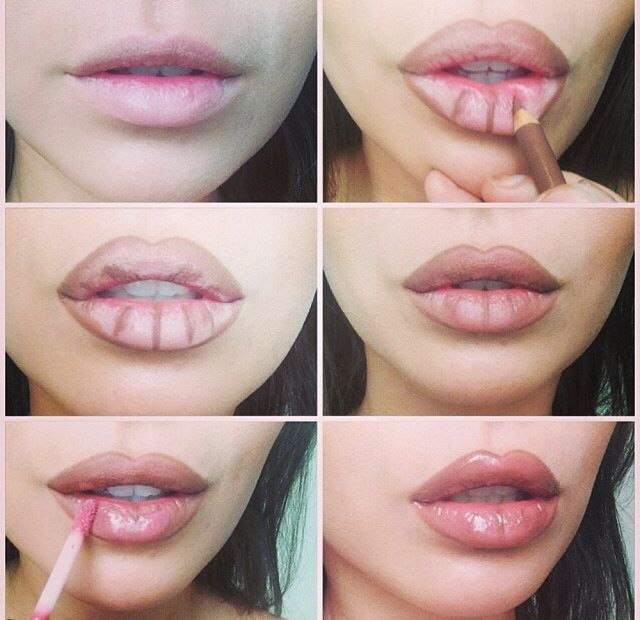 """**Secret lip plumping trick to give you those gorgeous Angelina Jolie lips!** Rimmel 1000 kisses lip liner in """"tiramisu"""" blended then MAC plush glass lipgloss in """"ample pink"""" over the top"""