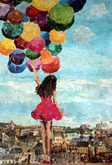 girl in short pink dress holding floating colorful balloons in sky over city