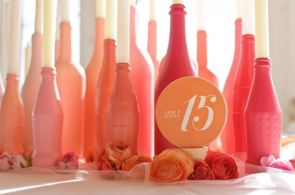 DIY Coral painted bottles for centerpieces & candle holders