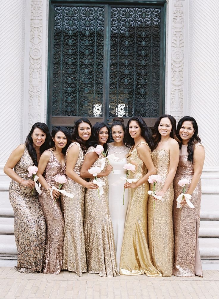 sparkling bridesmaids Photography: Jose Villa Photography - josevillaphoto.com  Read More: http://www.stylemepretty.com/2014/07/10/classic-affair-in-san-francisco-with-a-modern-twist/