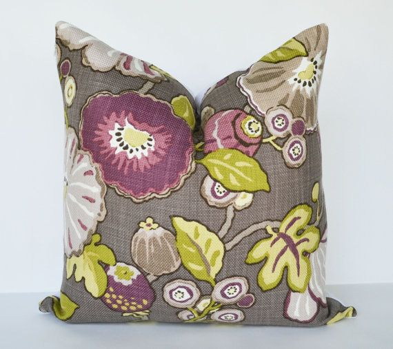 Decorative Pillow: plum,  green, purple, and taupe