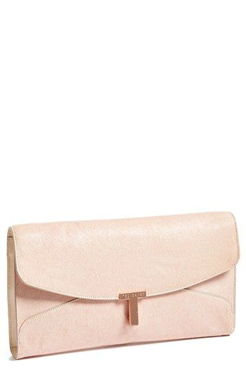 Ted Baker London 'T Clasp - Maxi' Calf Hair Clutch | Nordstrom