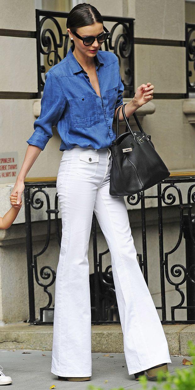 Miranda Kerr nails the denim-on-denim look. // #StreetStyle #Fashion