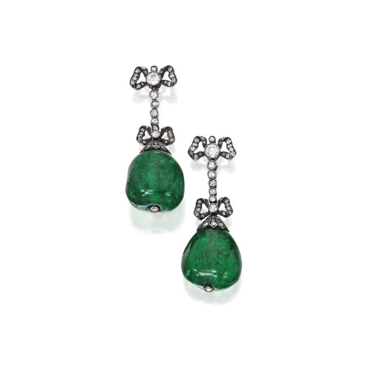 Pair of Silver, Gold, Emerald and Diamond Earrings | Lot | Sotheby's
