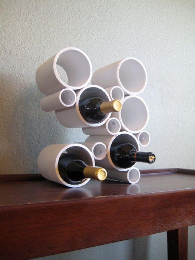 Diy pvc wine bottle holder basement bar pinterest