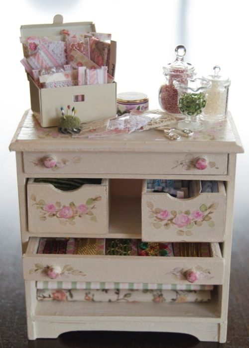 lovely mini sewing supply dresser!!