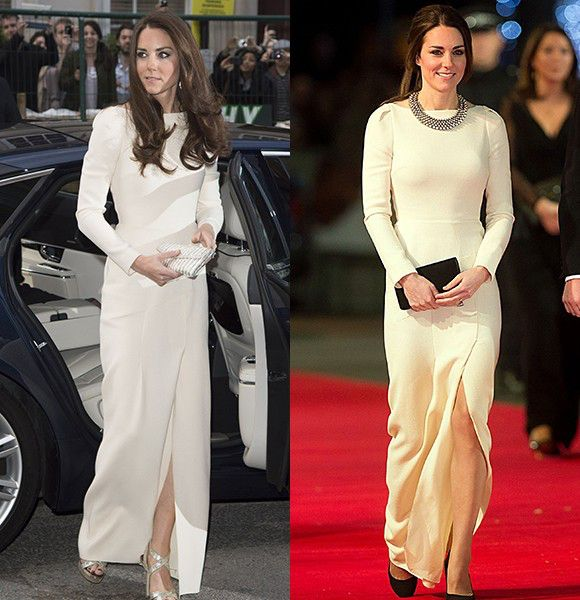 By Molly McGonigleOne would think that if you were royalty, you wouldn't want or have to wear the same thing twice. Well, that's not the case for Duchess Kate, who is not your average royal. In fact, the duchess loves to wear the same ensemble multiple times. Click through to see just how many times she's recycled a look that she loves. Repeated item: Roland Mouret gown Outfit on the left: Dec. 5, 2013Outfit on the right: May 8, 2012This long-sleeve ivory gown is simply stunning. But we ...