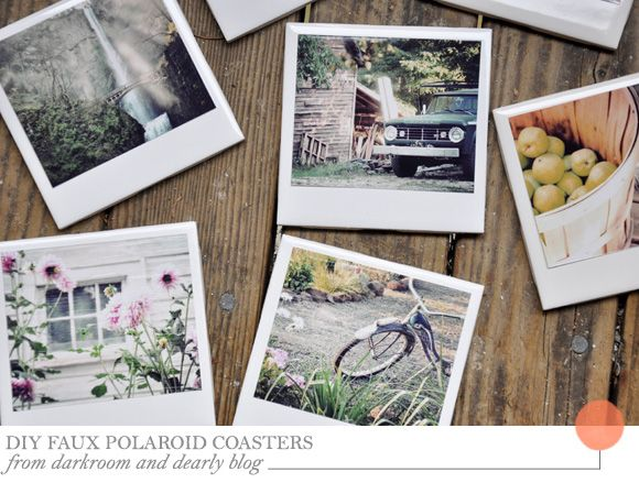 DIY Faux Polaroid Coasters from Darkroom and Dearly