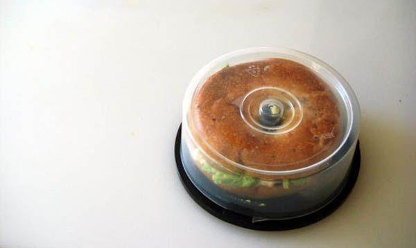 CD holders can be reborn as bagel caddies.