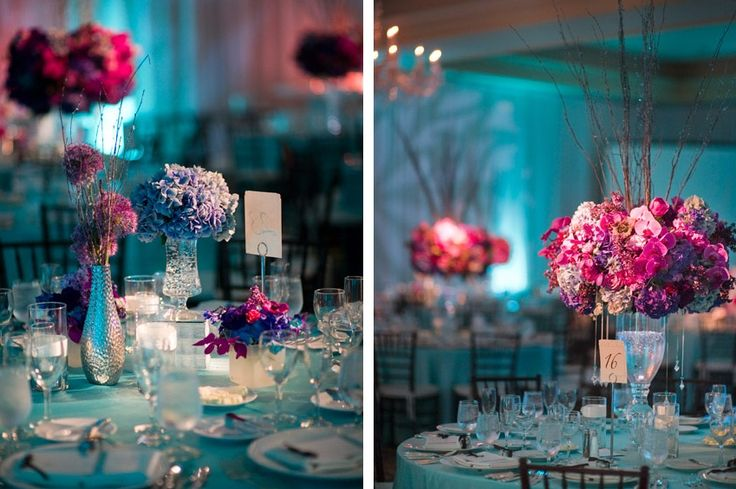 Teal And Purple Table Decorations Photograph