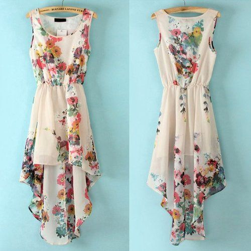 Floral summer dress. I love it, but wish it wasn't high low..