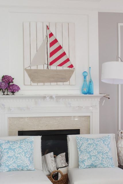 Summer mantel with sailboat
