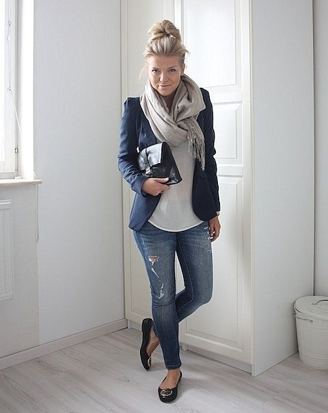 jeans, blazer, flats, scarf, casual outfit