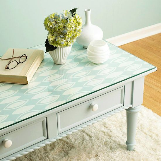 Table Topper from wallpaper.  Easy to change decor.  Thanks bhg.com