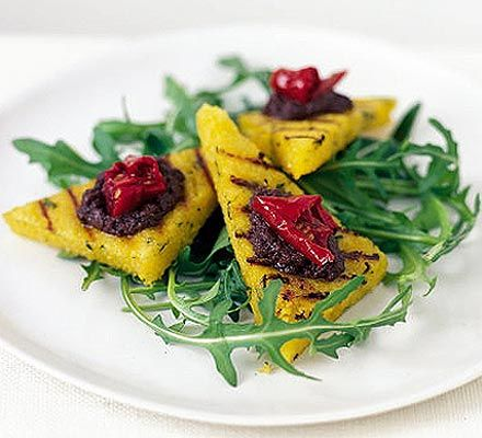 Polenta bruschetta with tapenade | BBC Good Food