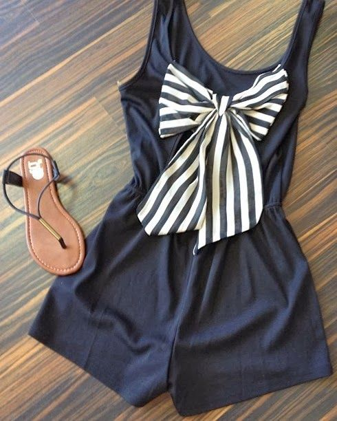 Adorable navy and white romper with striped bow. :: nautical love:: pin up fashion:: retro clothes :: vintage style