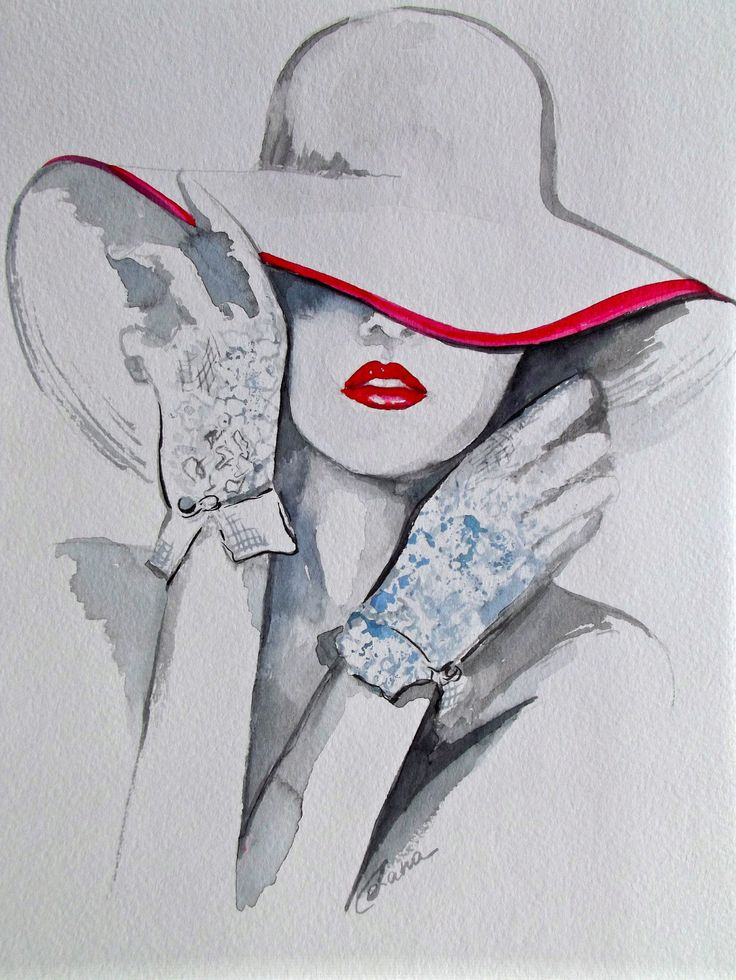 Chanel Fashion Illustration Art Original Watercolor Painting by Lana