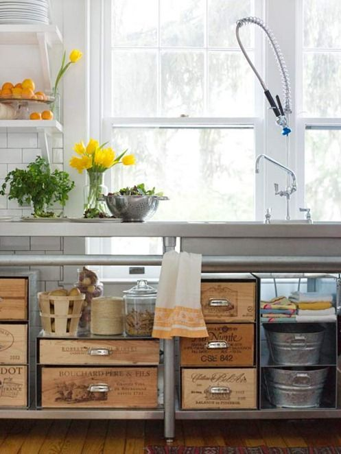 Old wine boxes make instant drawers in a a rustic kitchen. Enjoy more inspired images and ideas via Centsational Style: http://www.bhg.com/blogs/centsational-style/2013/02/11/rustic-touches/#
