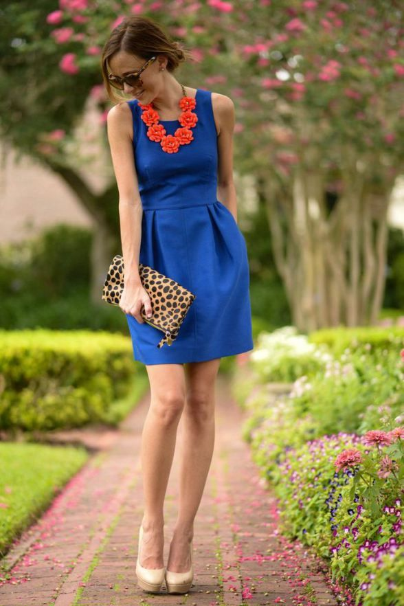 blue dress and leopard clutch