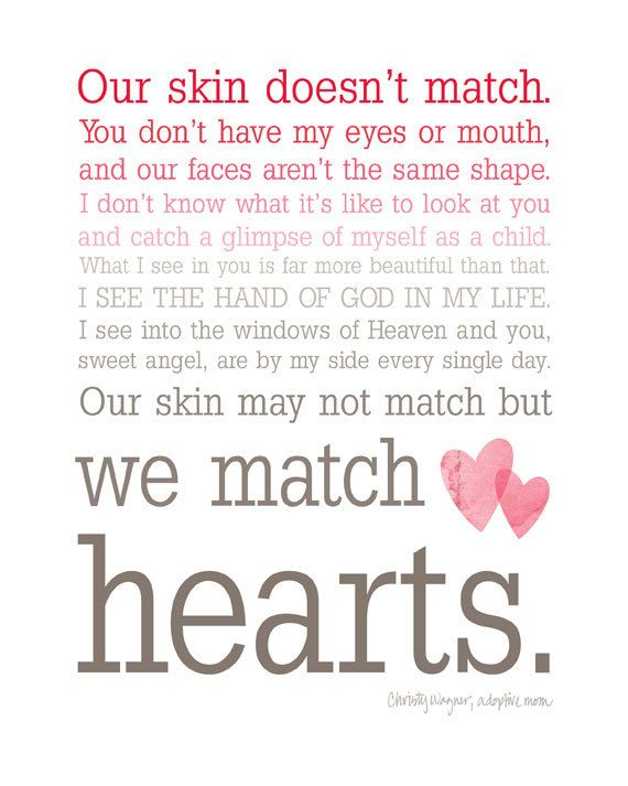 Beautifully said...We Match Hearts - Ombre Typography Wall Art - #Adoption #quote