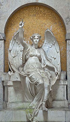 Figure in cemetery in Frankfurt am Main, Germany.