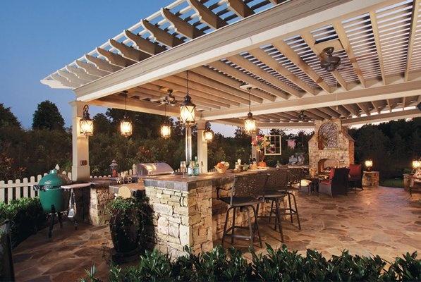Outdoor bar, overhang with drop lighting   Remodel me ... on Backyard Overhang Ideas id=82719
