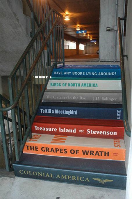 Books | 25 DIY Ways To Update Your Stairs - courtesy of BuzzFeed - also something i want to try whenever i own a home. :)