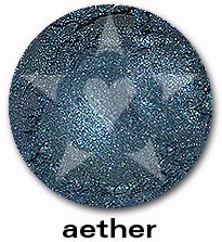 "Aether is a lush, mid-tone oceanic complex blue with sparkles of blue and silver. Fom Aromaleigh's metallic mineral eyeshadow collection, ""ALCHEMIE"", based on v1's ""Elemental Lustre""."