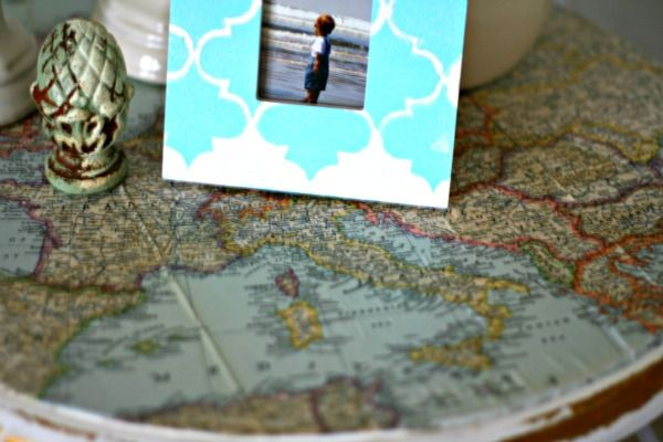 Decoupaged Table top with Vintage Map from Today's Creative Blog http://todayscreativeblog.net/decoupage-ideas/