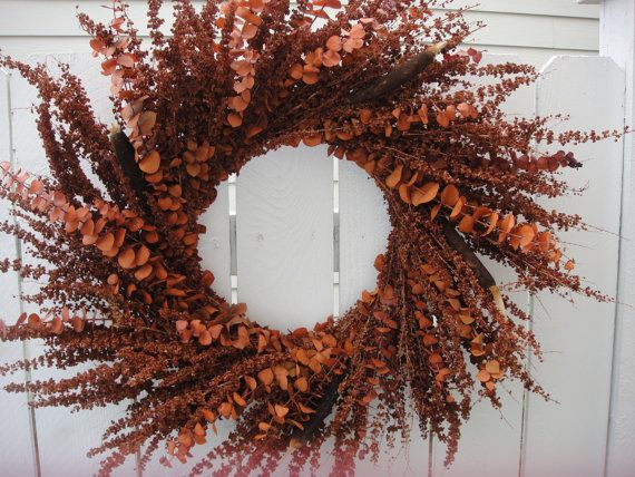 Autumn Wreath   Hand Crafted Fall Wreath   Front Door Wreath For Fall  Natural Wreath   Dried Wreath  Autumn Decor on Etsy, $70.00