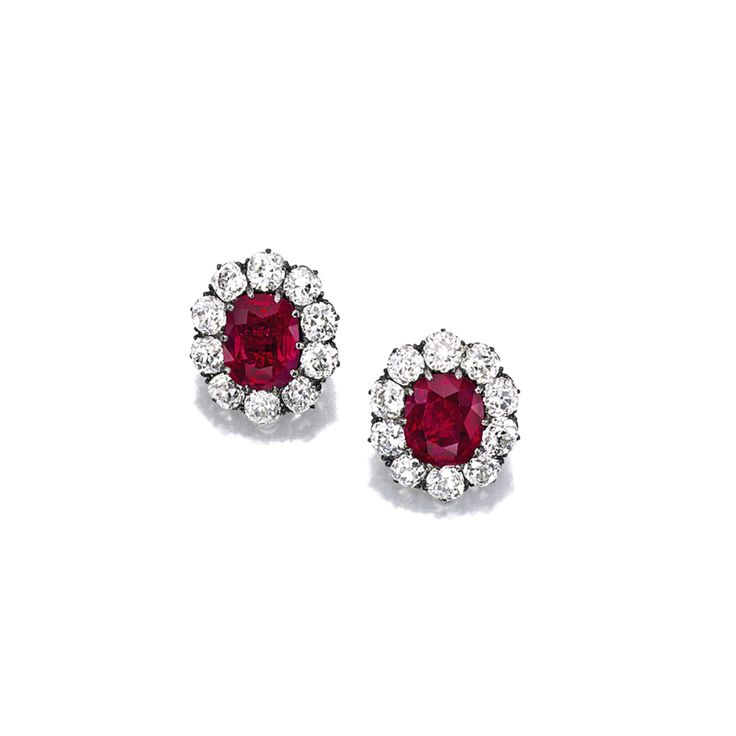 Very Fine Pair of Ruby and Diamond Earrings, Late 19th Century   Lot   Sotheby's