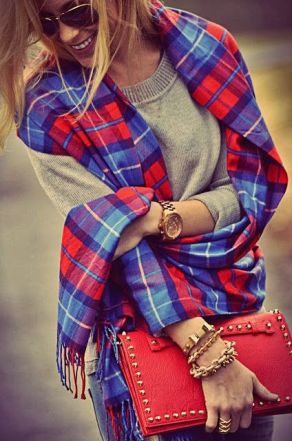 Cute Check Scarf With Red Stud Purse Click for more