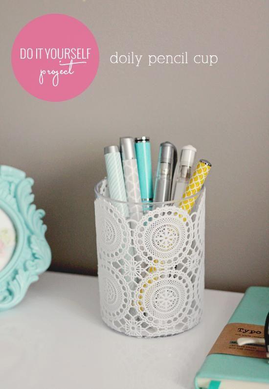 Diy back to school : DIY doily pencil cup