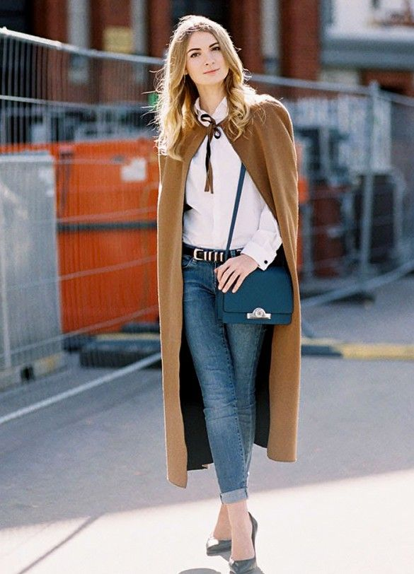 camel cape with jeans