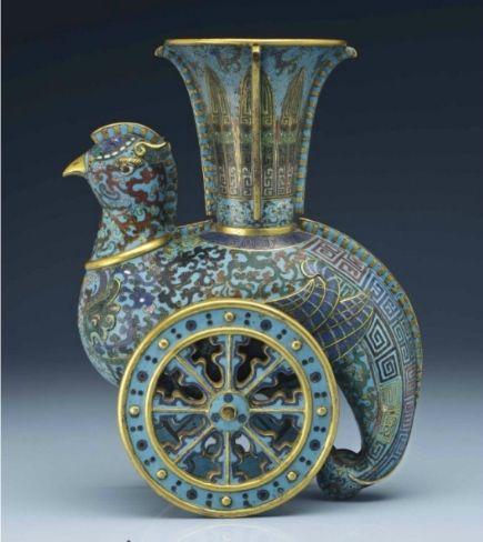 A rare cloisonné enamel archaistic 'wheeled' phoenix-form vase, zun, Qianlong period (1736-1795)