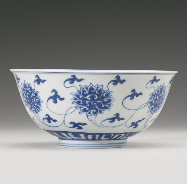 A blue and white 'Peony' bowl, Kangxi mark and period