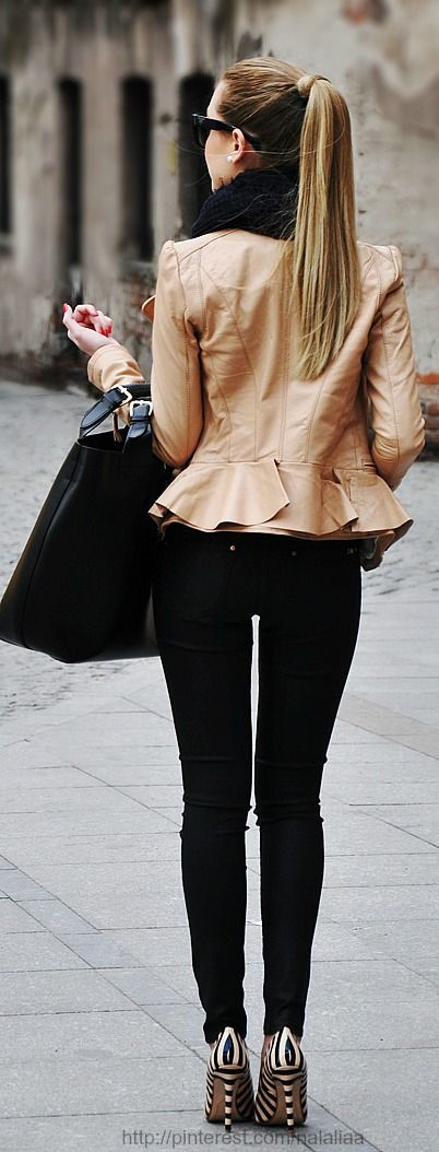 Peplum jacket and striped heels...