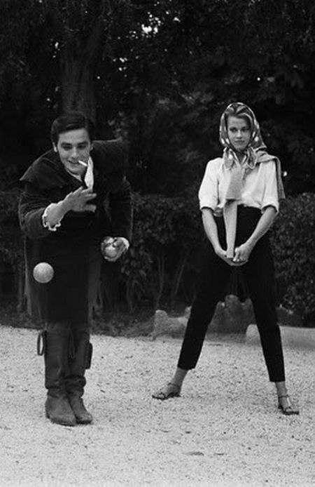 Alain Delon and Jane Fonda playing bocce, 1963
