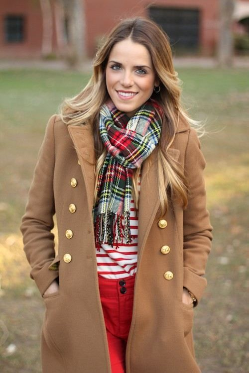 plaid scarf & coat