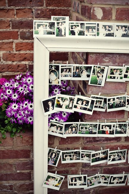 cool way to display photos of bride and groom from childhood to present