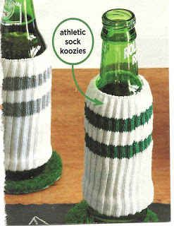 (Clean) athletic socks make great makeshift beer cozies. | 39 Clever Tailgating DIYs To Get You In The Spirit • Football • Party •