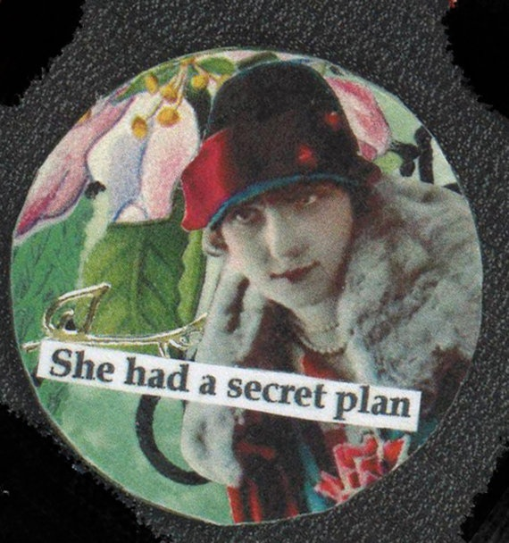 Original Unique Collage MagnetBeware of Secret Plans by rhodyart, $3.00
