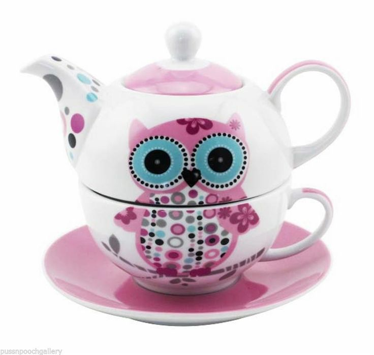 Owl Tea For One China Teapot Amp Cup Amp Saucer Set Pink Amp White