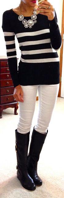 Black & white stripes + white skinnies.