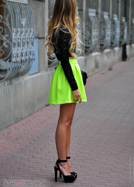 neon party mini skirt