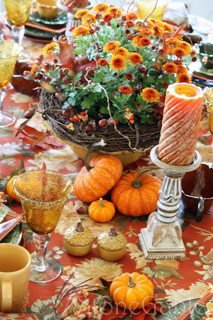 Autumn Equinox:  Harvest tablescape for the #Autumn #Equinox.