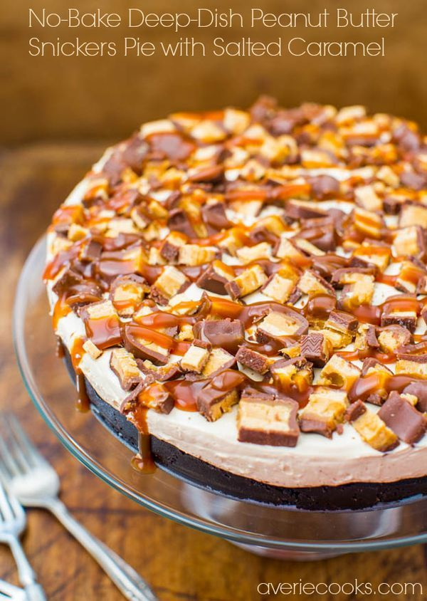 No-Bake Deep-Dish Peanut Butter Snickers Pie with Salted Caramel - The perfect pie: Peanut Butter, Chocolate, Loaded with Candy & Dripping in Caramel! Easy, no-bake recipe at averiecooks.com