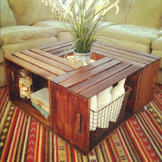 Easy DIY table using just 4 crates! Love this.